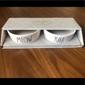 Rae Dunn Pet Bowls Meow Purr Gift Boxed Set of 2